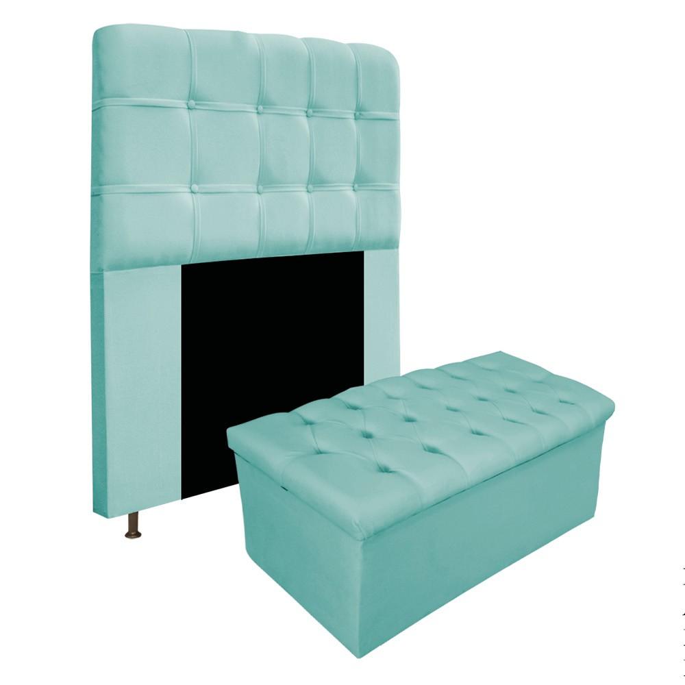 Kit Cabeceira e Calçadeira Baú Estofada Mel 90 cm Solteiro Com Botonê  Suede Azul Tiffany - ADJ Decor