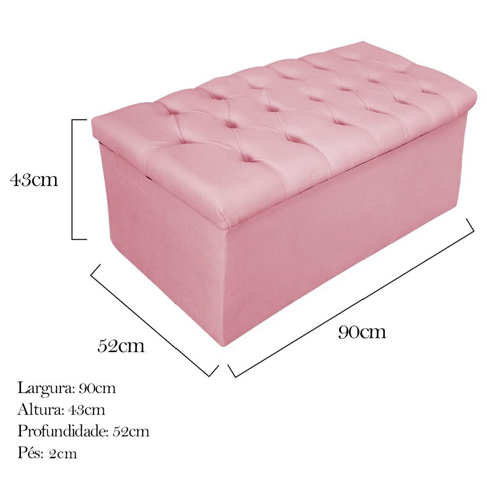 Kit Cabeceira e Calçadeira Baú Estofada Mel 90 cm Solteiro Com Botonê  Suede Rosa Bebê - ADJ Decor