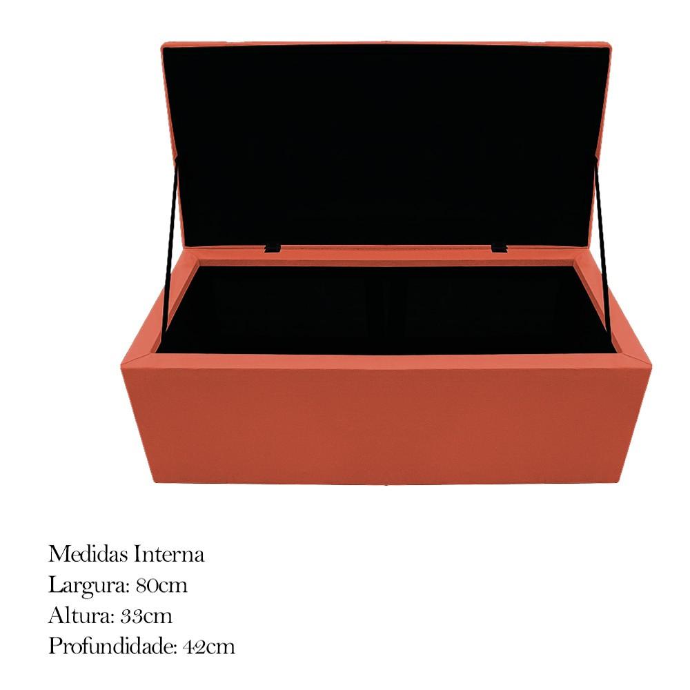 Kit Cabeceira e Calçadeira Baú Estofada Mel 90 cm Solteiro Com Botonê  Suede Terracota - ADJ Decor