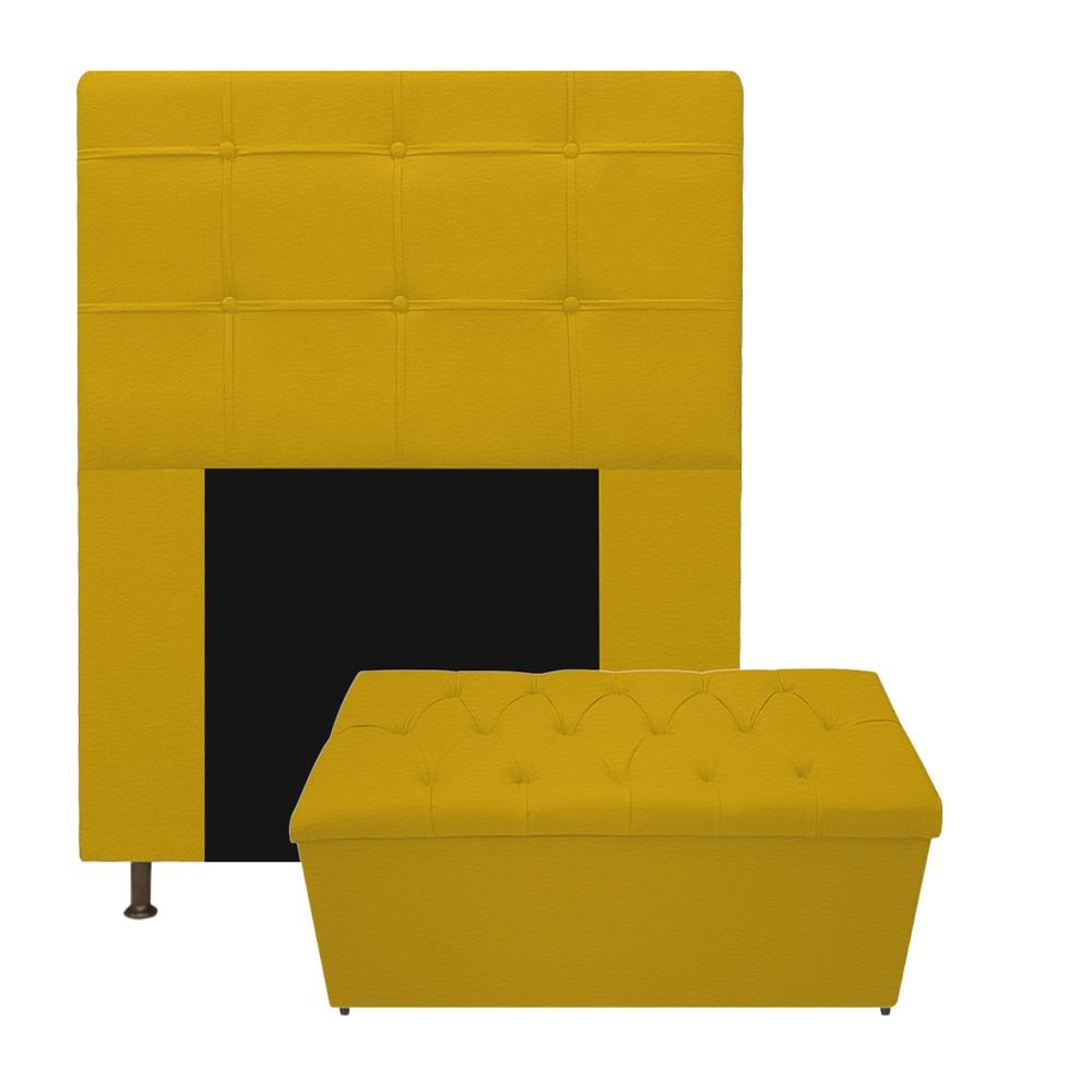 Kit Cabeceira e Calçadeira Baú Estofada Mel 90 cm Solteiro Com Capitonê Corano Amarelo - ADJ Decor