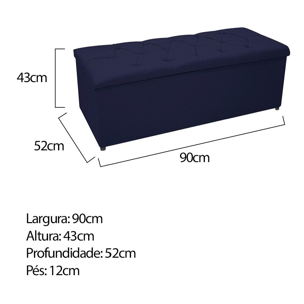 Kit Cabeceira e Calçadeira Baú Estofada Mel 90 cm Solteiro Com Capitonê Corano Azul Marinho - ADJ Decor