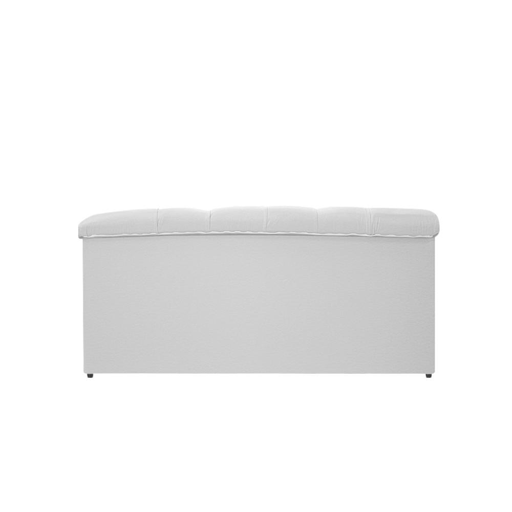 Kit Cabeceira e Calçadeira Baú Estofada Mel 90 cm Solteiro Com Capitonê Corano Branco - ADJ Decor