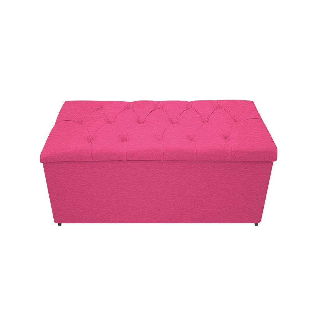 Kit Cabeceira e Calçadeira Baú Estofada Mel 90 cm Solteiro Com Capitonê Corano Pink - ADJ Decor