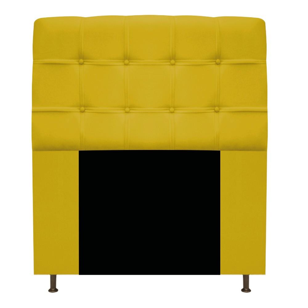 Kit Cabeceira e Calçadeira Baú Estofada Mel 90 cm Solteiro Com Capitonê Suede Amarelo - ADJ Decor