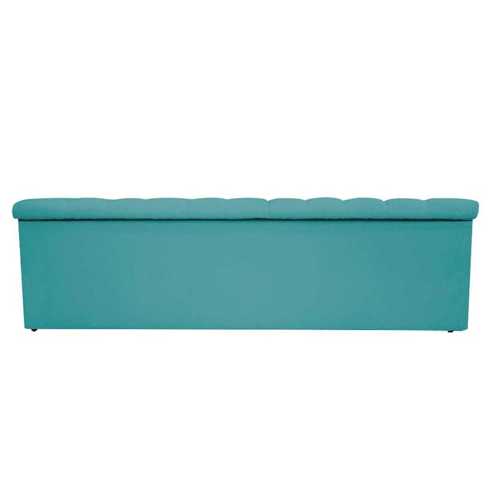Kit Cabeceira e Calçadeira Baú Estofada Mel 90 cm Solteiro Com Capitonê Suede Azul Turquesa - ADJ Decor