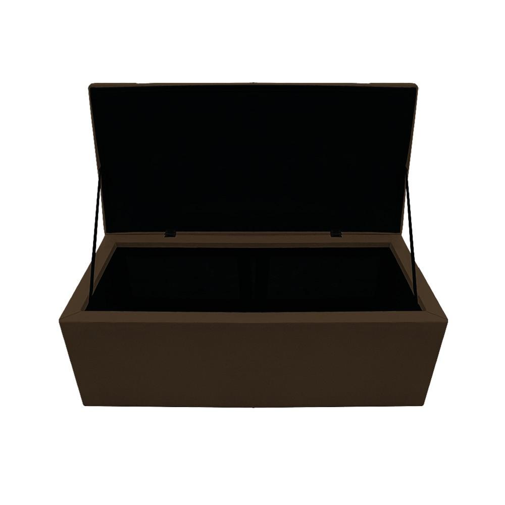 Kit Cabeceira e Calçadeira Baú Estofada Mel 90 cm Solteiro Com Capitonê Suede Marrom - ADJ Decor