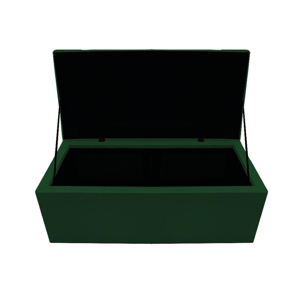 Kit Cabeceira e Calçadeira Baú Estofada Mel 90 cm Solteiro Com Capitonê Suede Verde - ADJ Decor