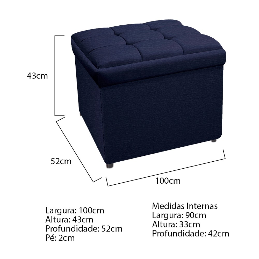 Kit Cabeceira e Calçadeira Copenhague 100 cm Solteiro Corano Azul Marinho - ADJ Decor