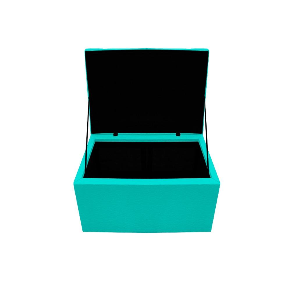 Kit Cabeceira e Calçadeira Copenhague 100 cm Solteiro Corano Azul Turquesa - ADJ Decor