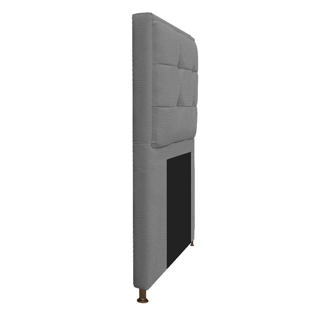 Kit Cabeceira e Calçadeira Copenhague 100 cm Solteiro Corano Cinza - ADJ Decor