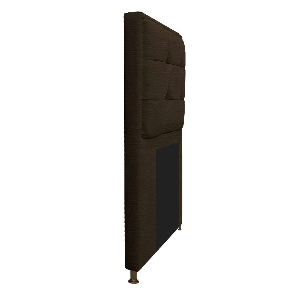 Kit Cabeceira e Calçadeira Copenhague 100 cm Solteiro Corano Marrom - ADJ Decor