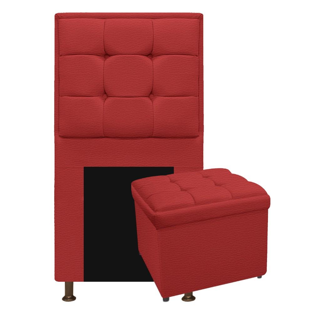 Kit Cabeceira e Calçadeira Copenhague 100 cm Solteiro Corano Vermelho - ADJ Decor