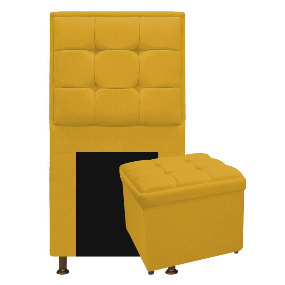 Kit Cabeceira e Calçadeira Copenhague 100 cm Solteiro Suede Amarelo - ADJ Decor
