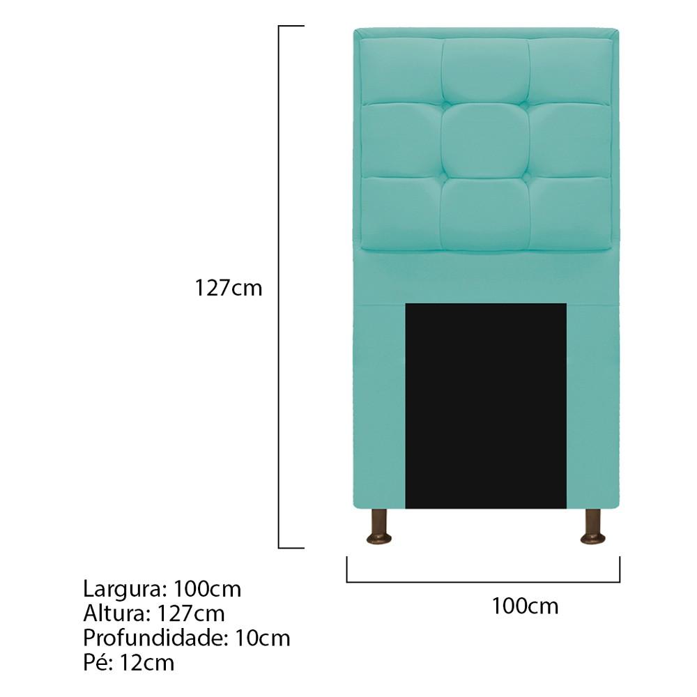Kit Cabeceira e Calçadeira Copenhague 100 cm Solteiro Suede Azul Tiffany - ADJ Decor