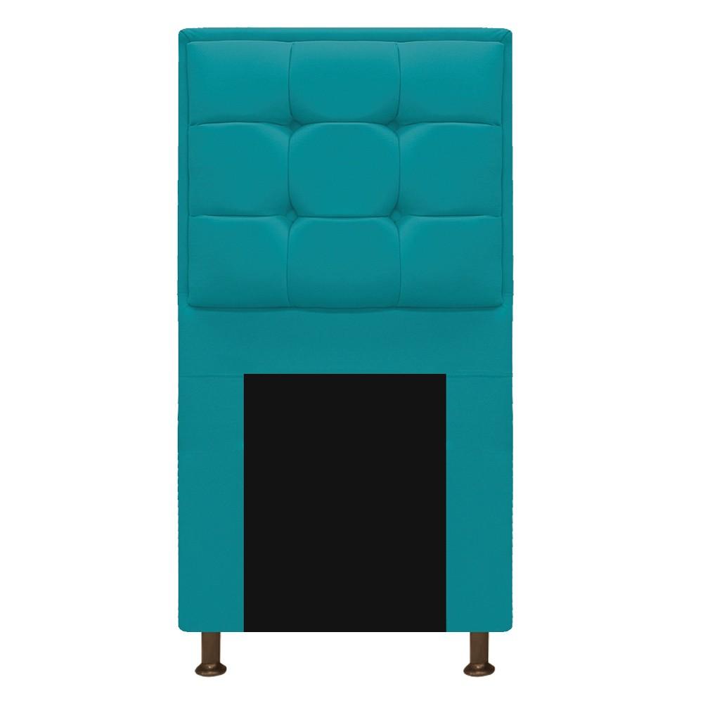 Kit Cabeceira e Calçadeira Copenhague 100 cm Solteiro Suede Azul Turquesa - ADJ Decor