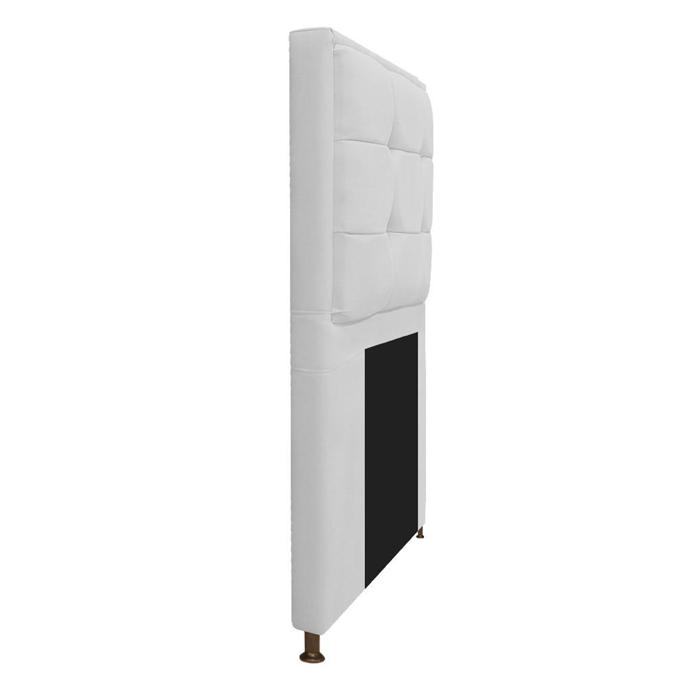Kit Cabeceira e Calçadeira Copenhague 100 cm Solteiro Suede Branco - ADJ Decor