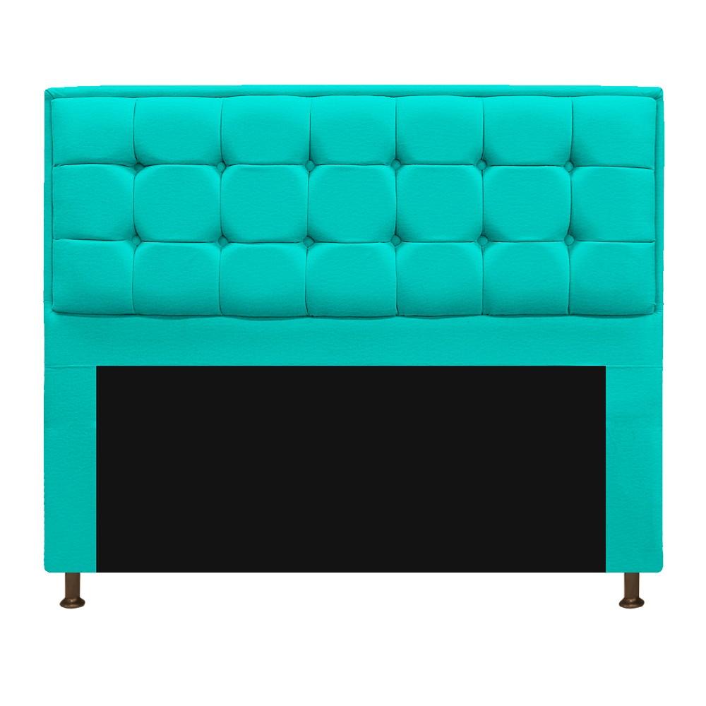 Kit Cabeceira e Calçadeira Copenhague 140 cm Casal Corano Azul Turquesa - ADJ Decor
