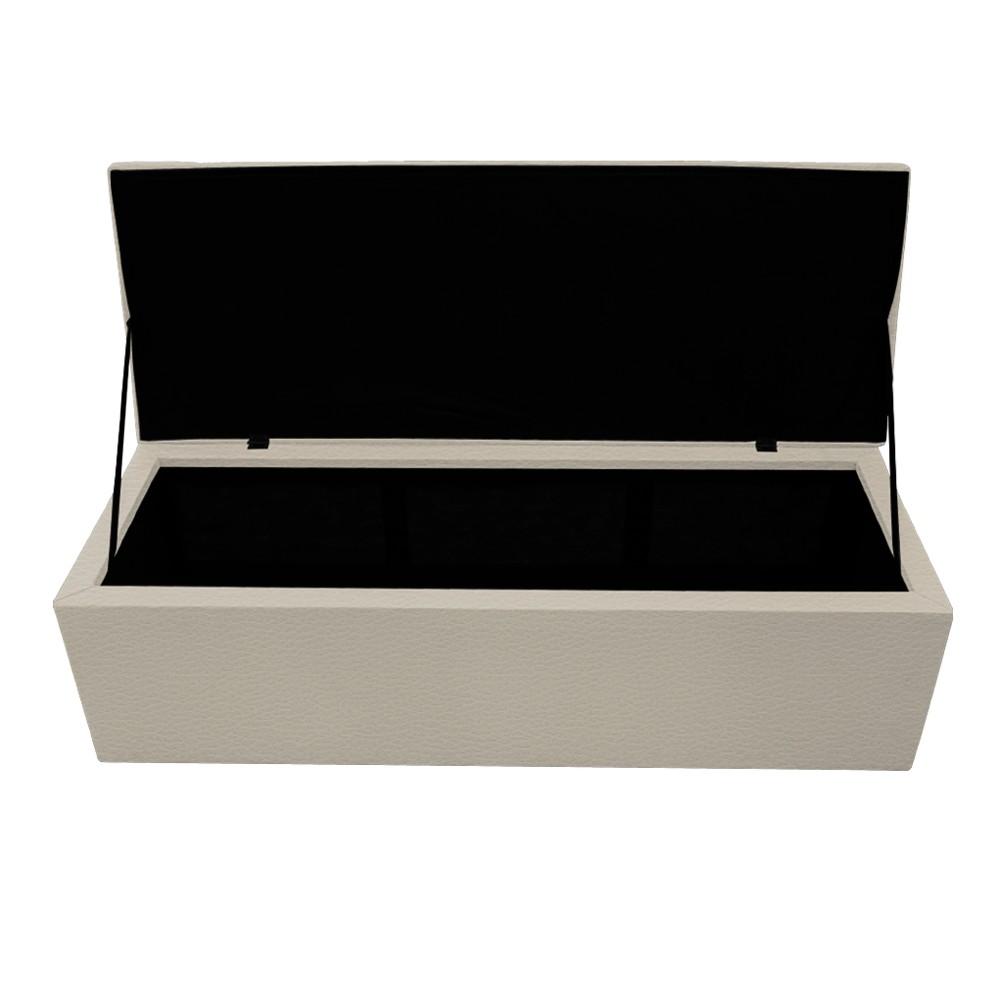 Kit Cabeceira e Calçadeira Copenhague 140 cm Casal Corano Bege - ADJ Decor