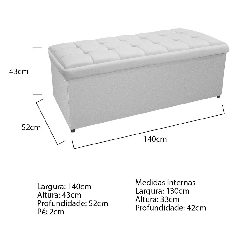 Kit Cabeceira e Calçadeira Copenhague 140 cm Casal Corano Branco - ADJ Decor