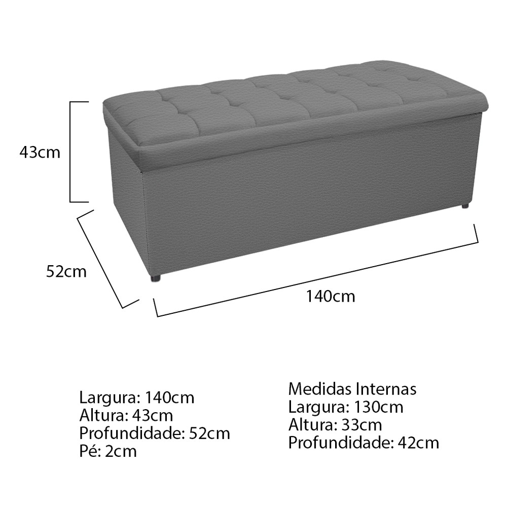 Kit Cabeceira e Calçadeira Copenhague 140 cm Casal Corano Cinza - ADJ Decor
