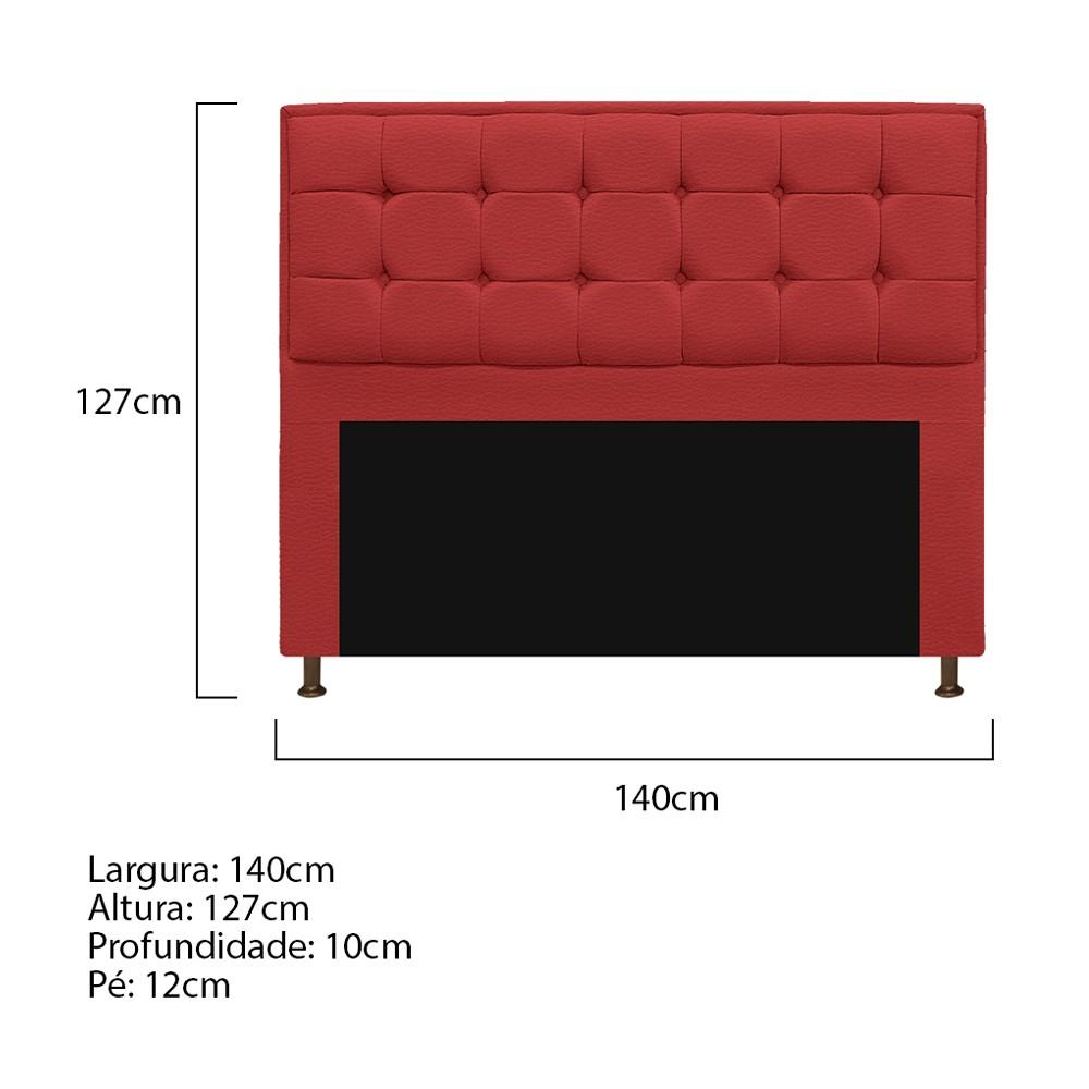 Kit Cabeceira e Calçadeira Copenhague 140 cm Casal Corano Vermelho - ADJ Decor