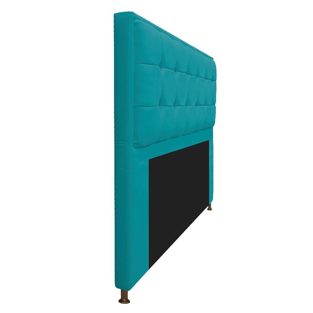 Kit Cabeceira e Calçadeira Copenhague 140 cm Casal Suede Azul Turquesa - ADJ Decor
