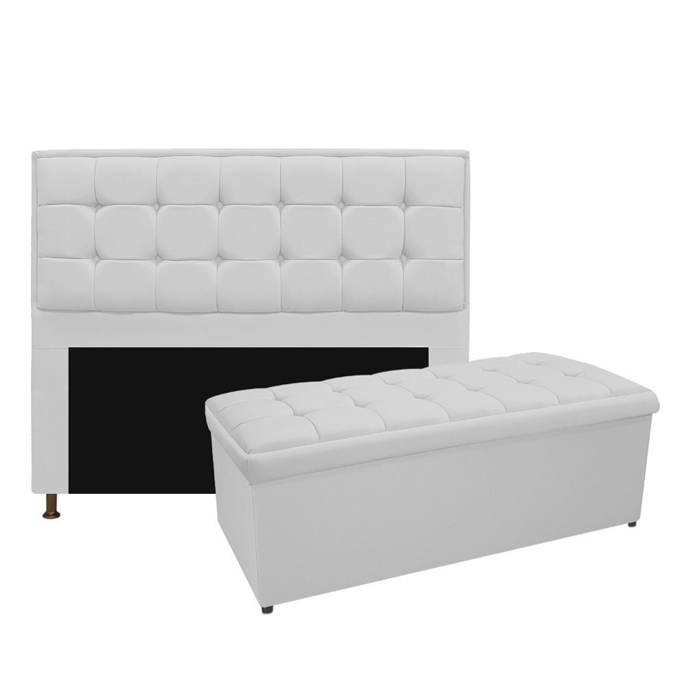 Kit Cabeceira e Calçadeira Copenhague 140 cm Casal Suede Branco - ADJ Decor
