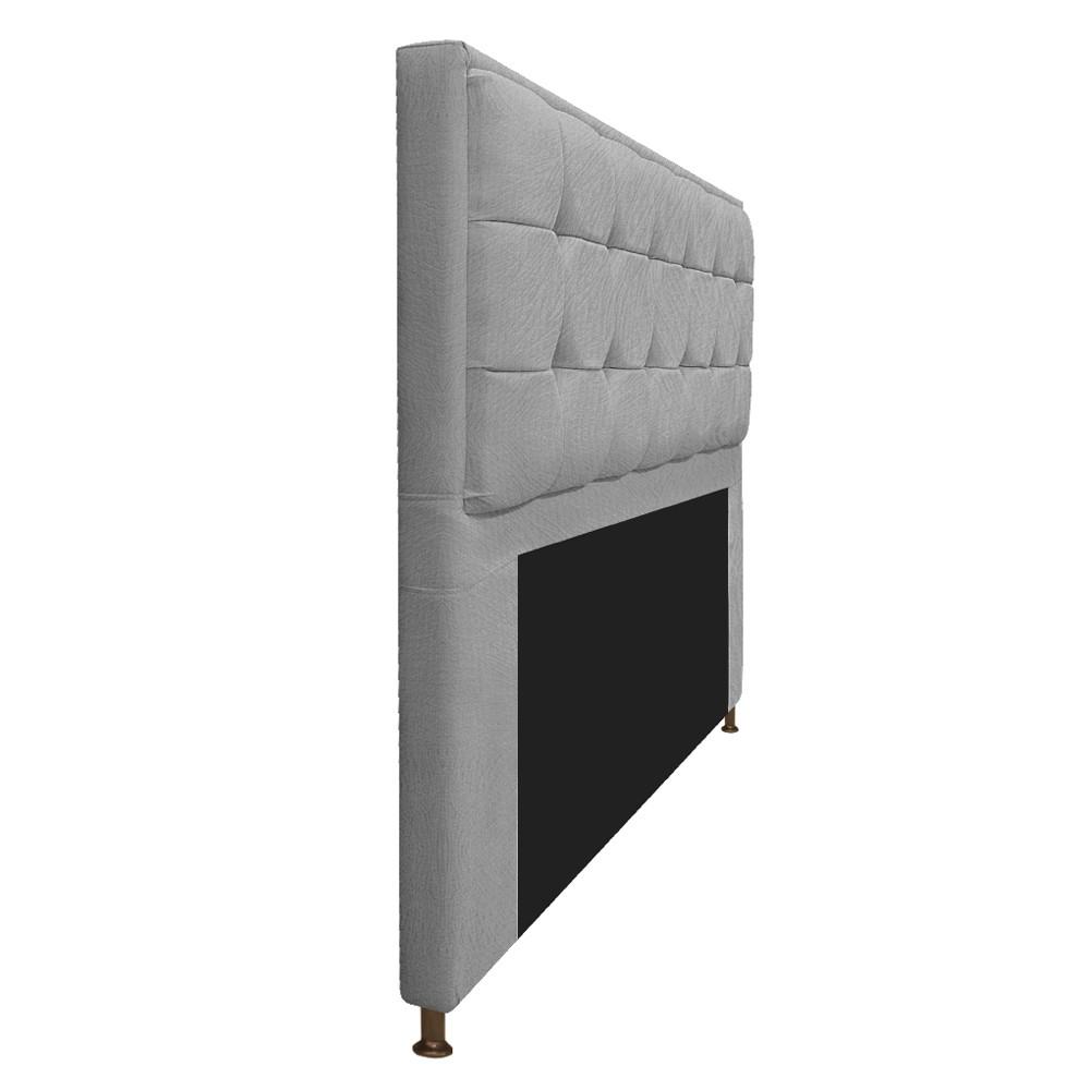 Kit Cabeceira e Calçadeira Copenhague 140 cm Casal Suede Cinza - ADJ Decor