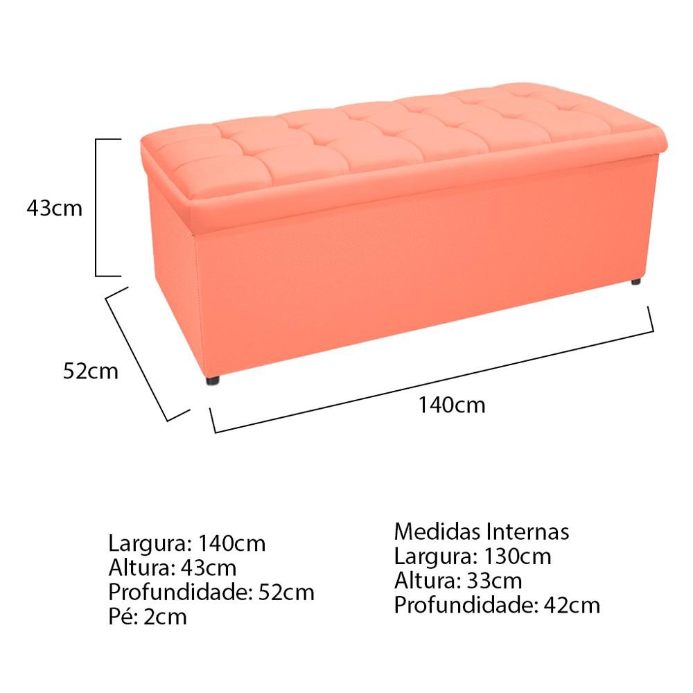 Kit Cabeceira e Calçadeira Copenhague 140 cm Casal Suede Coral - ADJ Decor