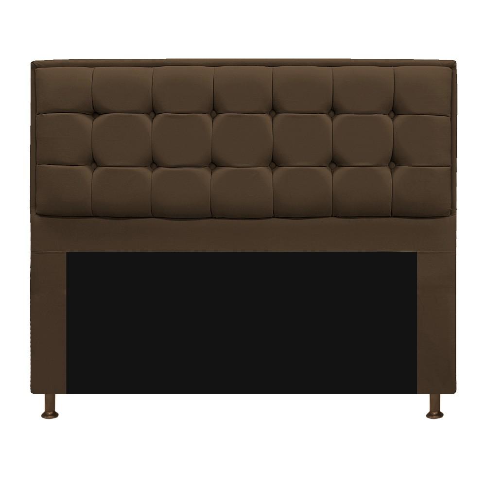 Kit Cabeceira e Calçadeira Copenhague 140 cm Casal Suede Marrom - ADJ Decor