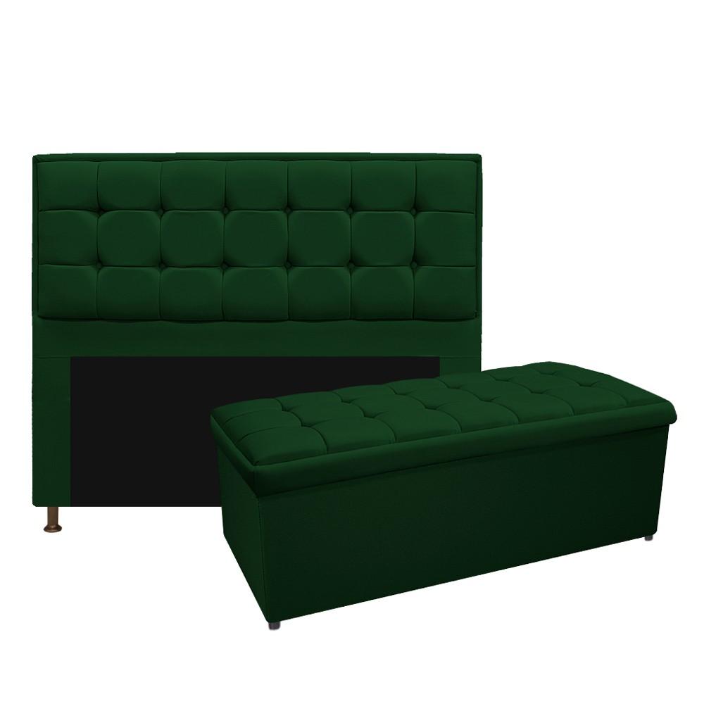 Kit Cabeceira e Calçadeira Copenhague 140 cm Casal Suede Verde - ADJ Decor