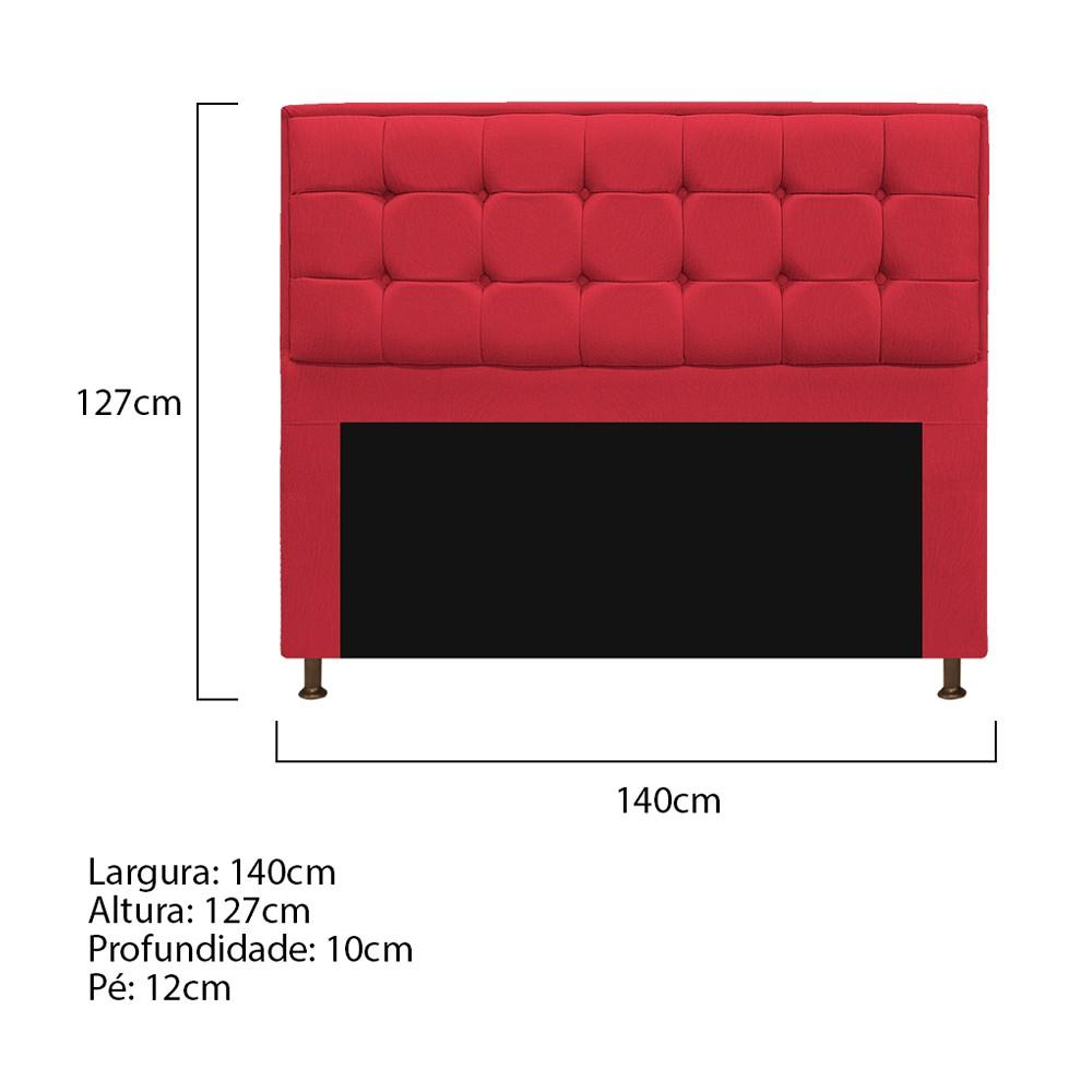 Kit Cabeceira e Calçadeira Copenhague 140 cm Casal Suede Vermelho - ADJ Decor