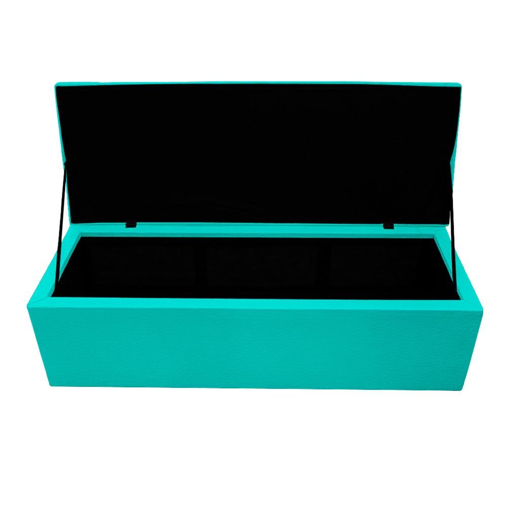Kit Cabeceira e Calçadeira Copenhague 160 cm Queen Size Corano Azul Turquesa - ADJ Decor