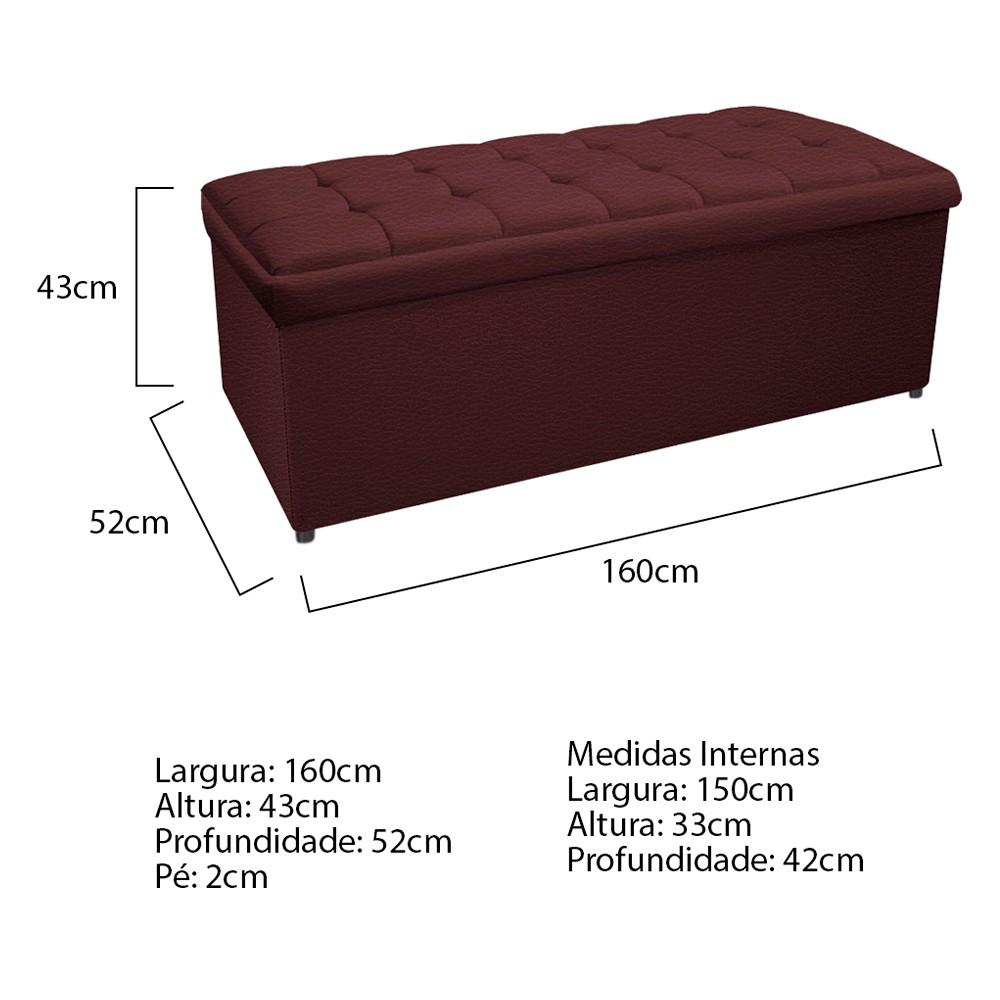 Kit Cabeceira e Calçadeira Copenhague 160 cm Queen Size Corano Bordô - ADJ Decor