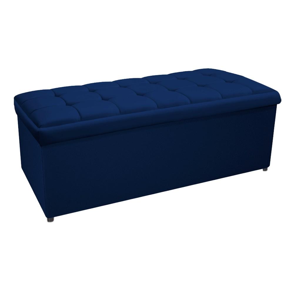 Kit Cabeceira e Calçadeira Copenhague 160 cm Queen Size Suede Azul Marinho - ADJ Decor