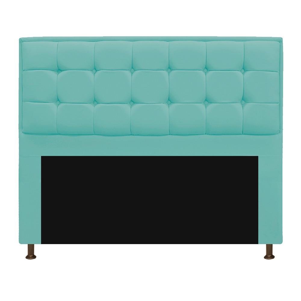 Kit Cabeceira e Calçadeira Copenhague 160 cm Queen Size Suede Azul Tiffany - ADJ Decor