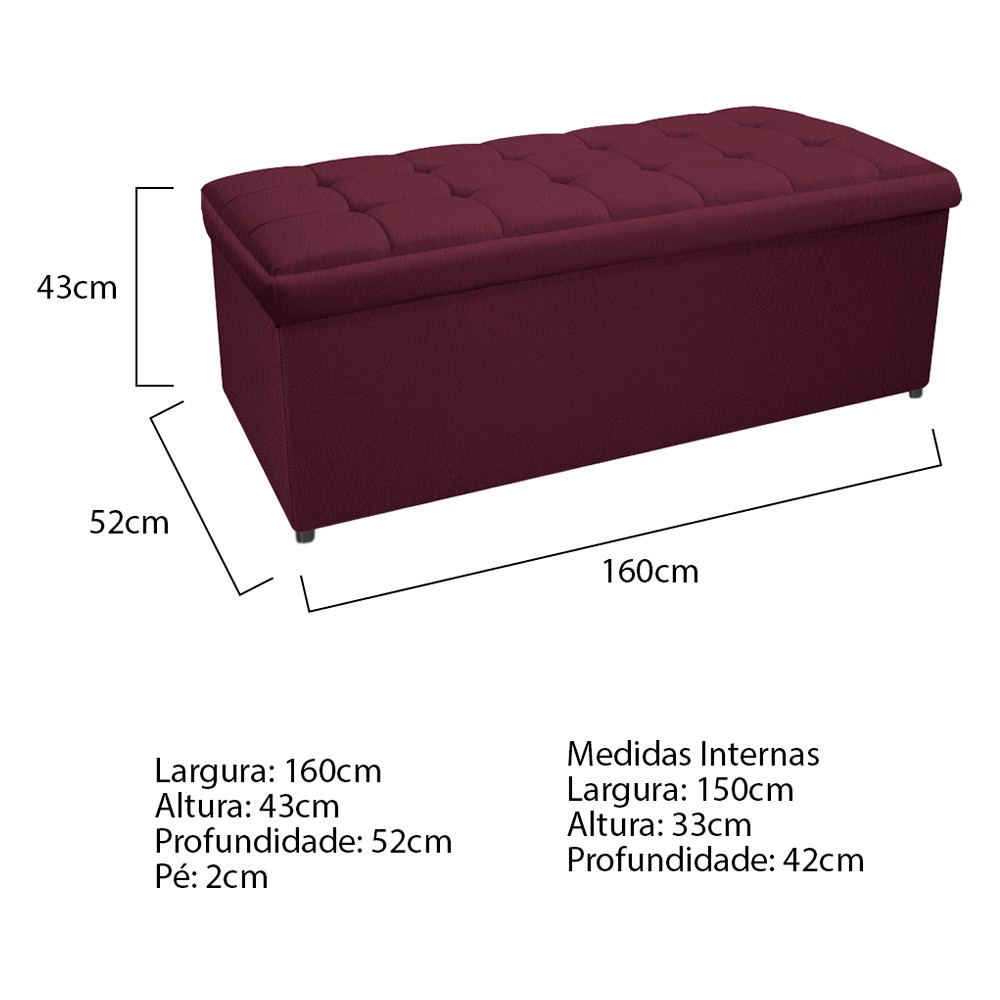 Kit Cabeceira e Calçadeira Copenhague 160 cm Queen Size Suede Bordô - ADJ Decor