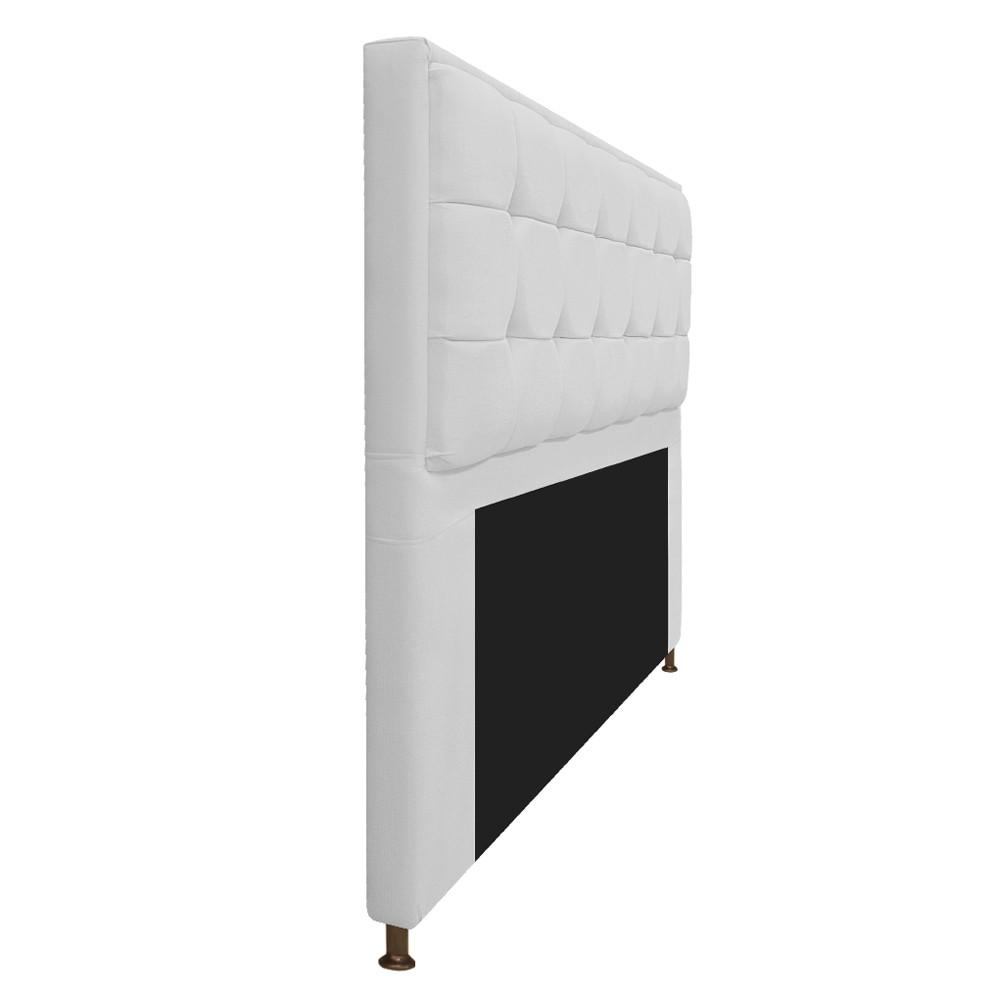 Kit Cabeceira e Calçadeira Copenhague 160 cm Queen Size Suede Branco - ADJ Decor