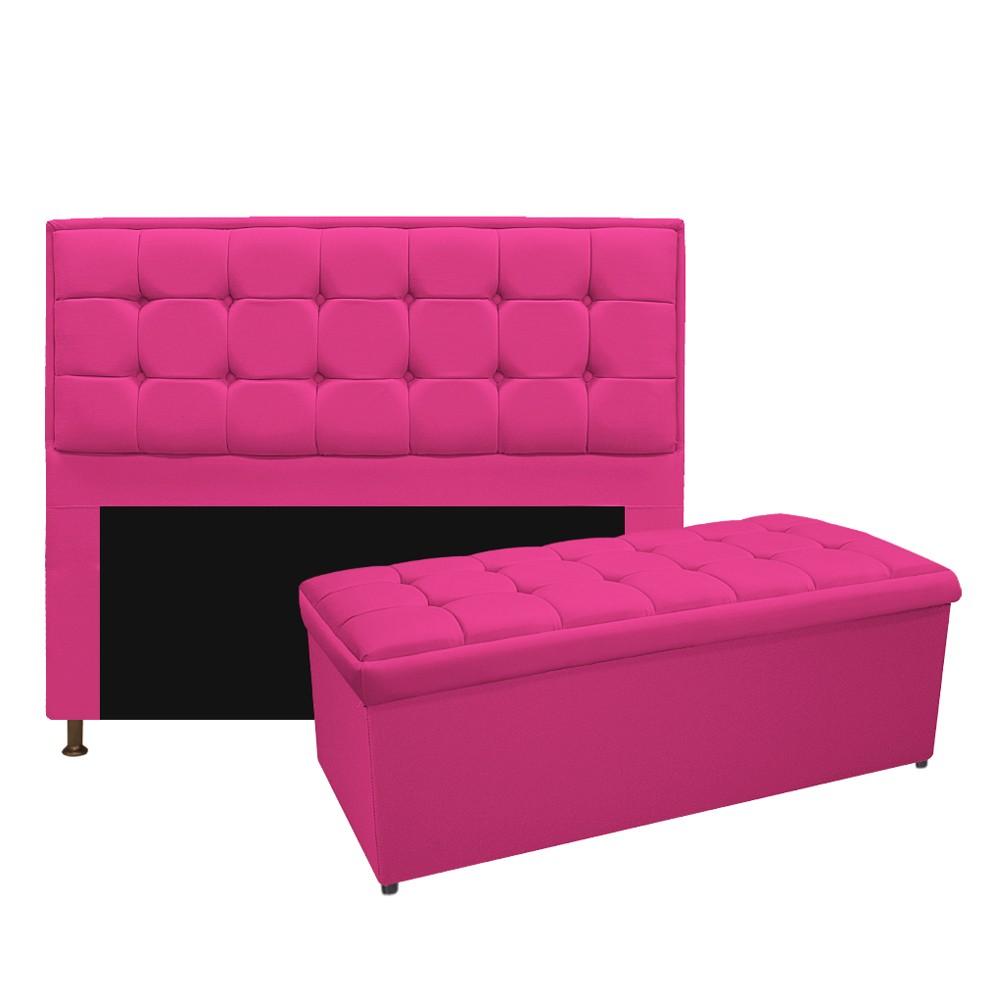 Kit Cabeceira e Calçadeira Copenhague 160 cm Queen Size Suede Pink - ADJ Decor