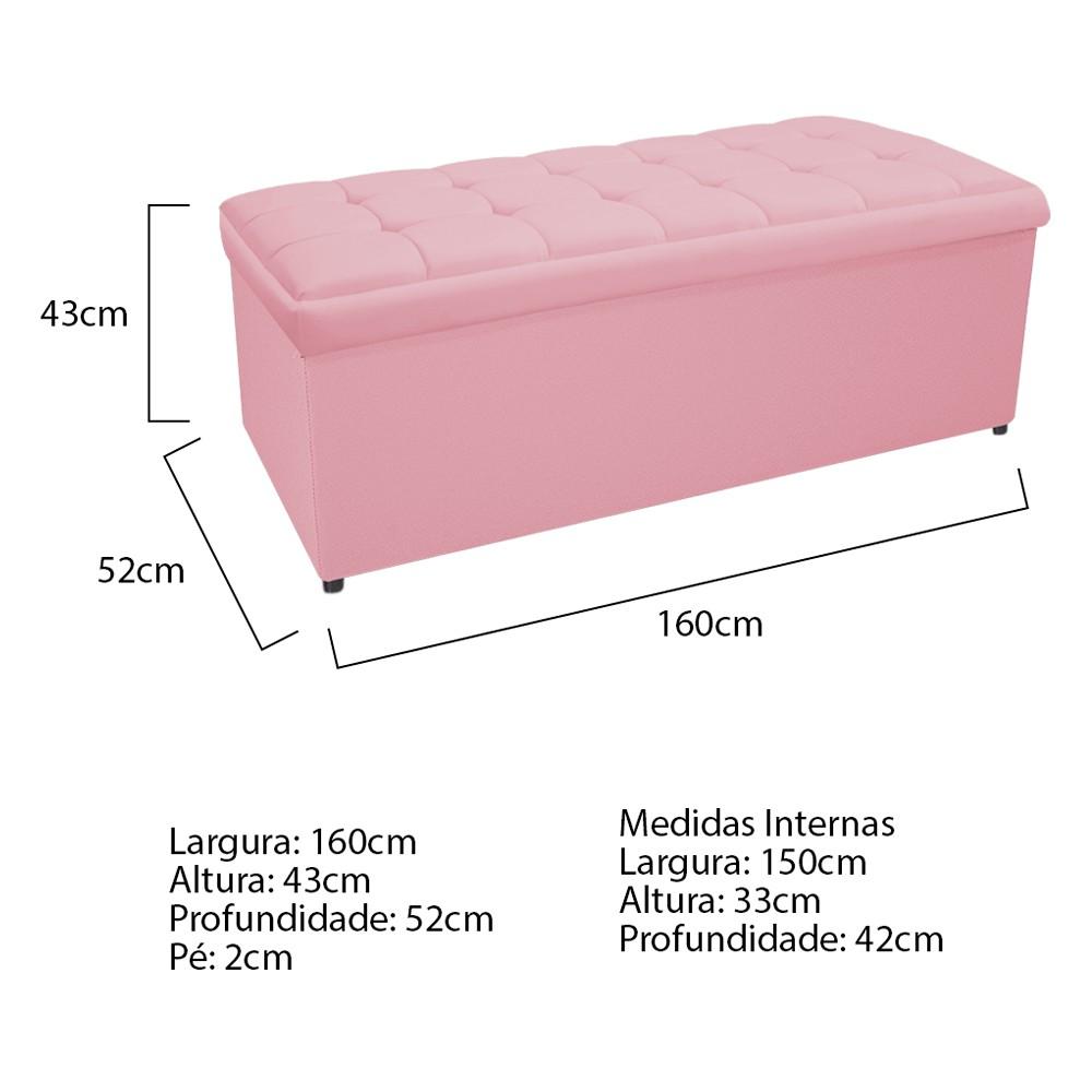 Kit Cabeceira e Calçadeira Copenhague 160 cm Queen Size Suede Rosa Bebê - ADJ Decor