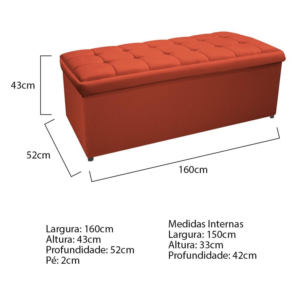 Kit Cabeceira e Calçadeira Copenhague 160 cm Queen Size Suede Terracota - ADJ Decor