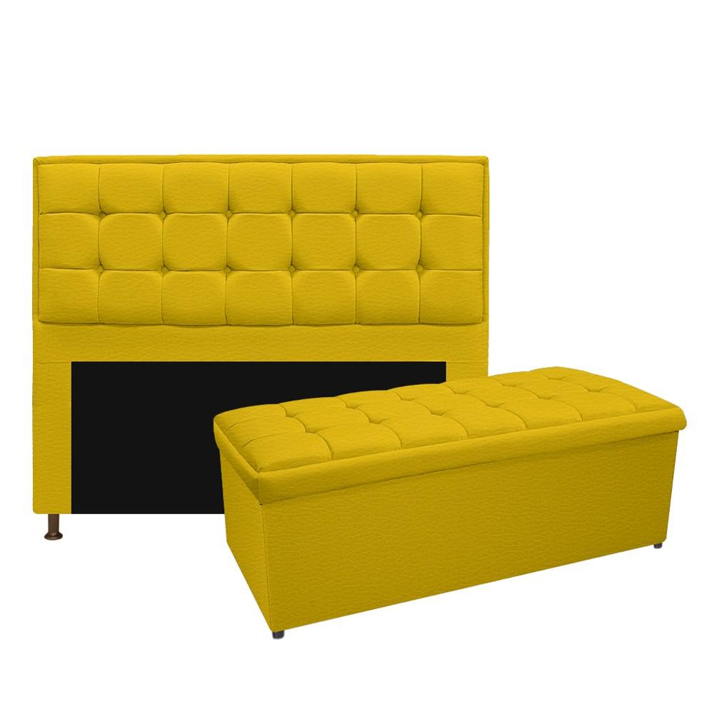 Kit Cabeceira e Calçadeira Copenhague 195 cm King Size Corano Amarelo - ADJ Decor