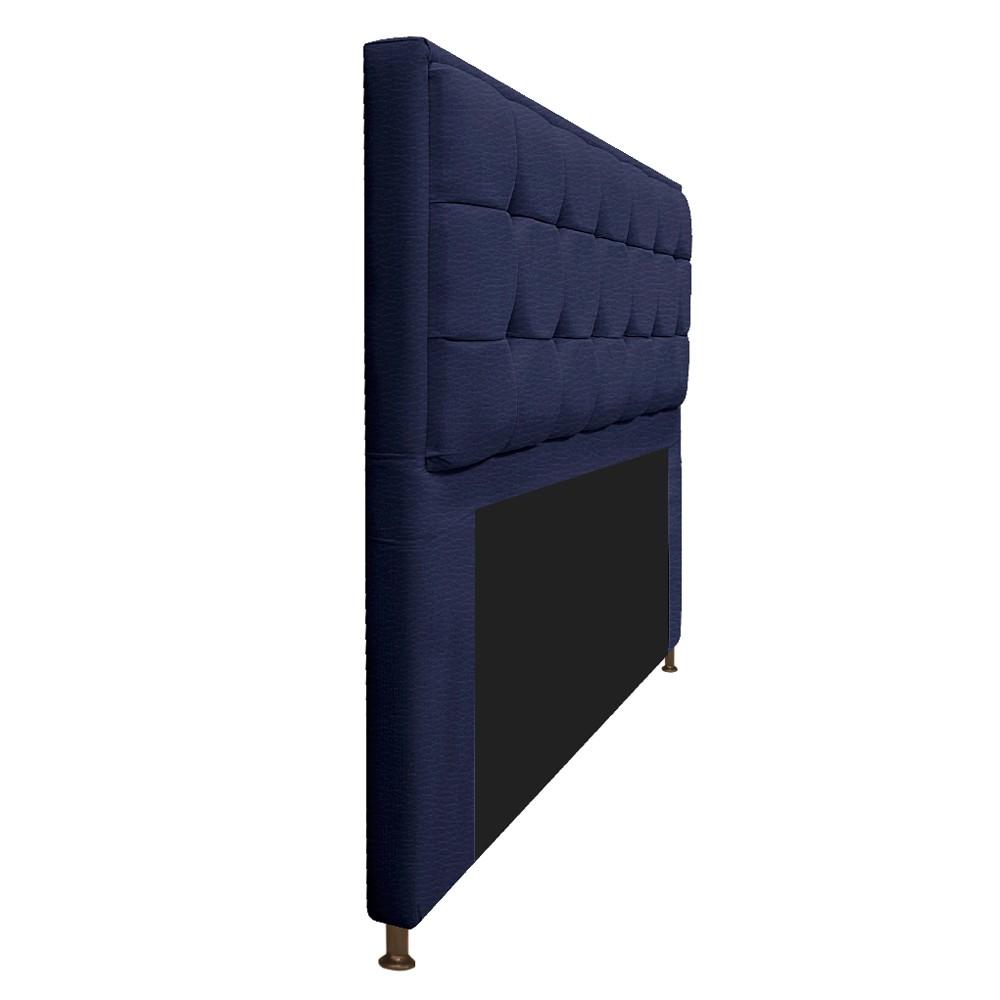 Kit Cabeceira e Calçadeira Copenhague 195 cm King Size Corano Azul Marinho - ADJ Decor
