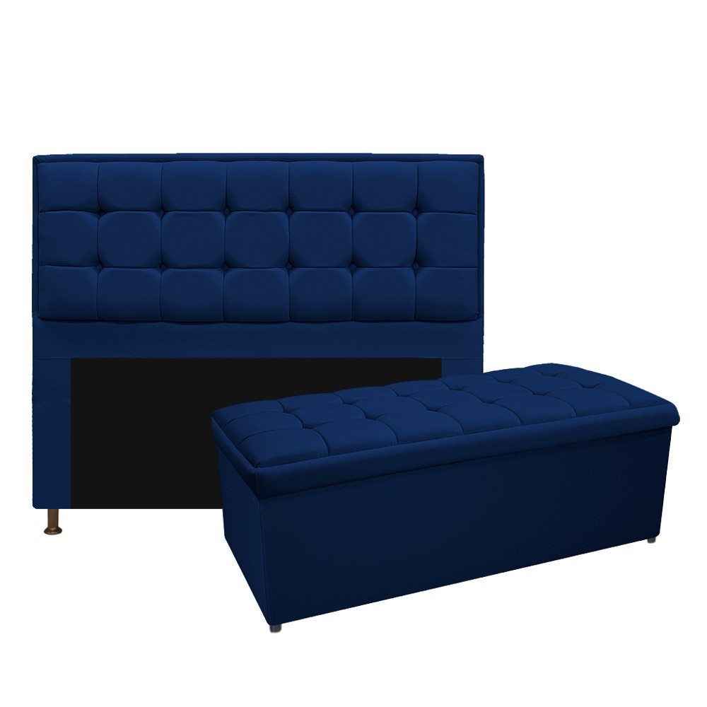 Kit Cabeceira e Calçadeira Copenhague 195 cm King Size Suede Azul Marinho - ADJ Decor