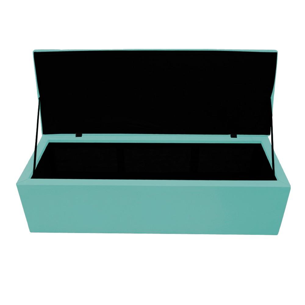 Kit Cabeceira e Calçadeira Copenhague 195 cm King Size Suede Azul Tiffany - ADJ Decor