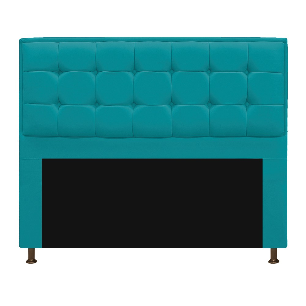 Kit Cabeceira e Calçadeira Copenhague 195 cm King Size Suede Azul Turquesa - ADJ Decor