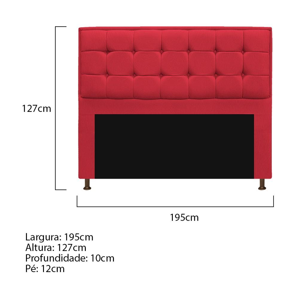 Kit Cabeceira e Calçadeira Copenhague 195 cm King Size Suede Vermelho - ADJ Decor