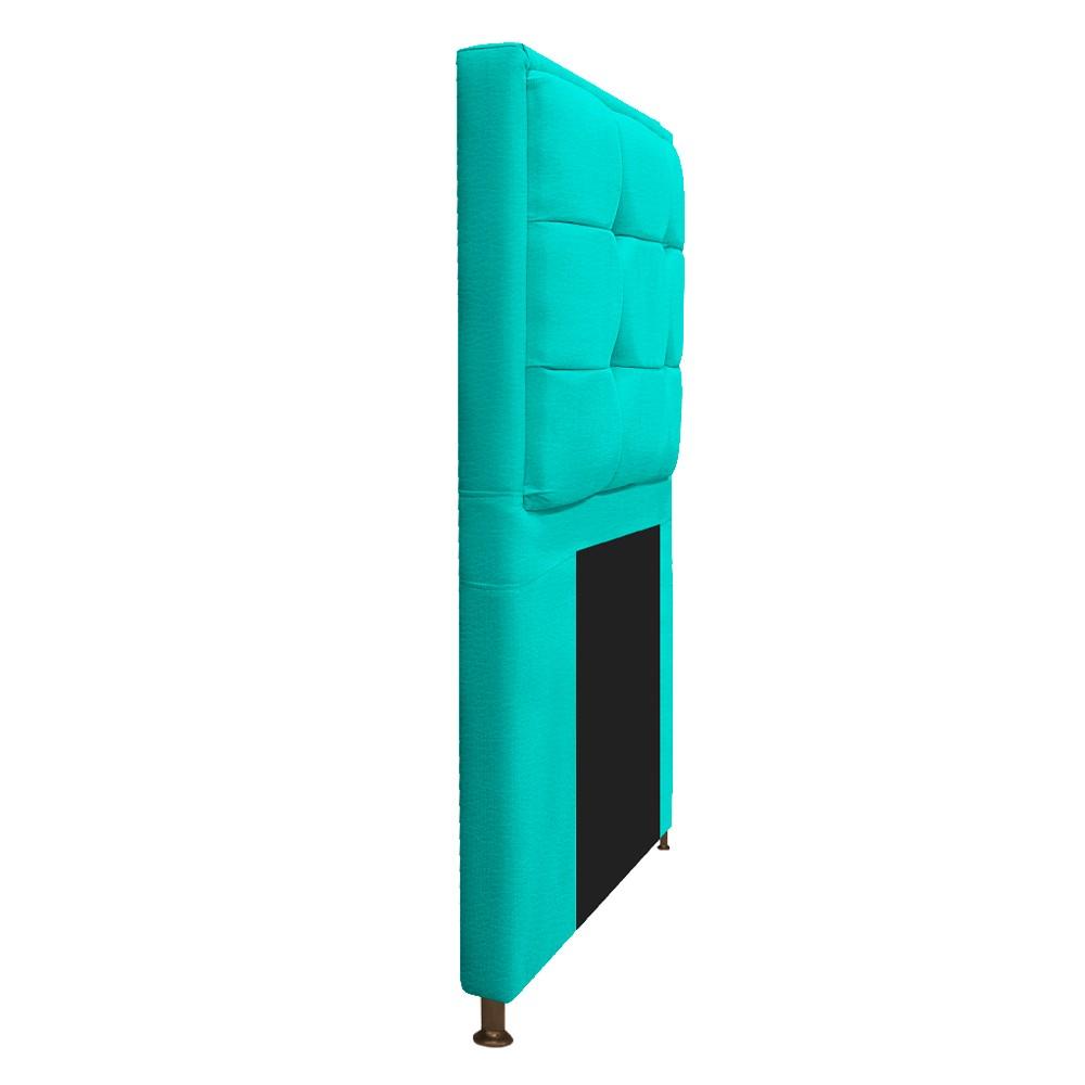Kit Cabeceira e Calçadeira Copenhague 90 cm Solteiro Corano Azul Turquesa - ADJ Decor