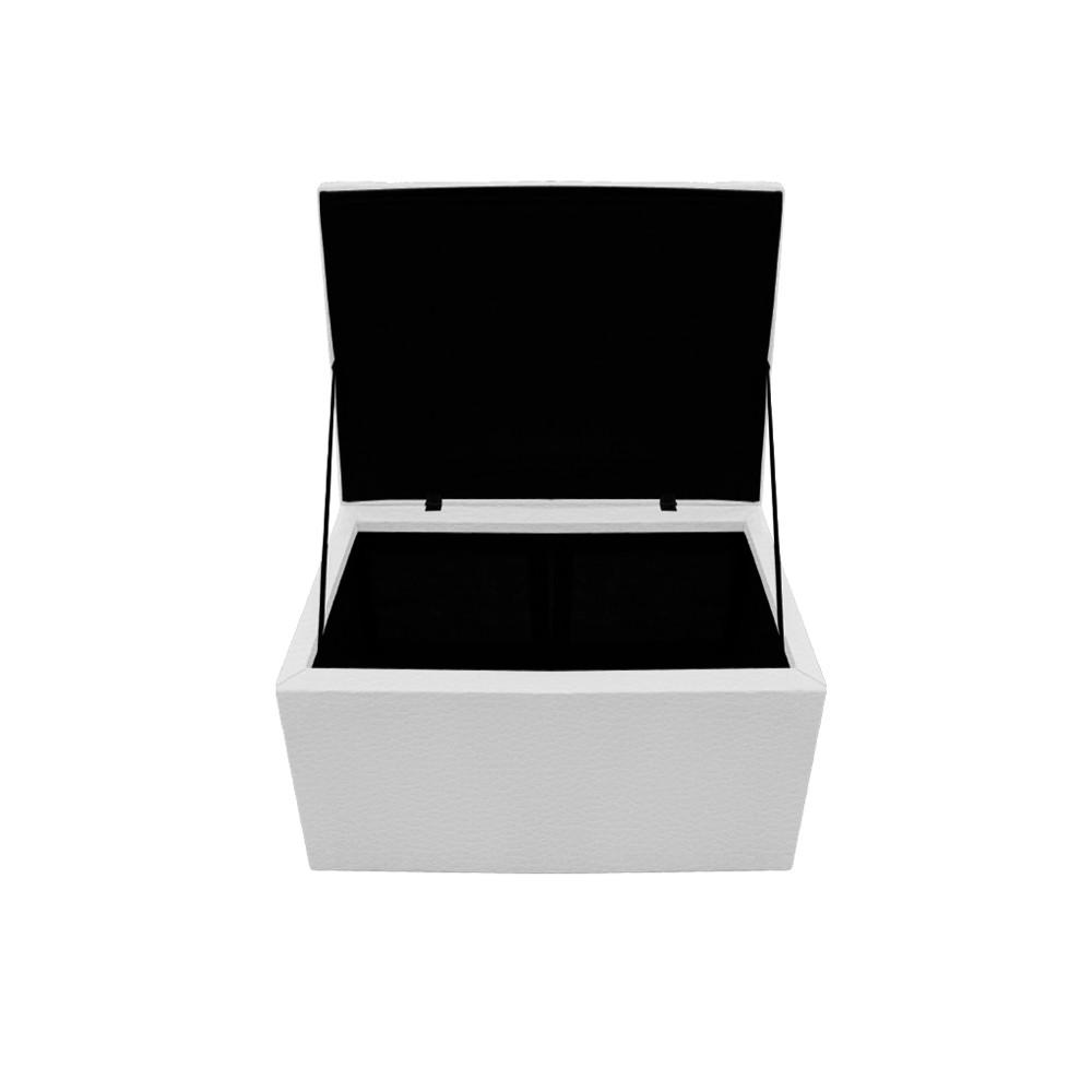 Kit Cabeceira e Calçadeira Copenhague 90 cm Solteiro Corano Branco - ADJ Decor