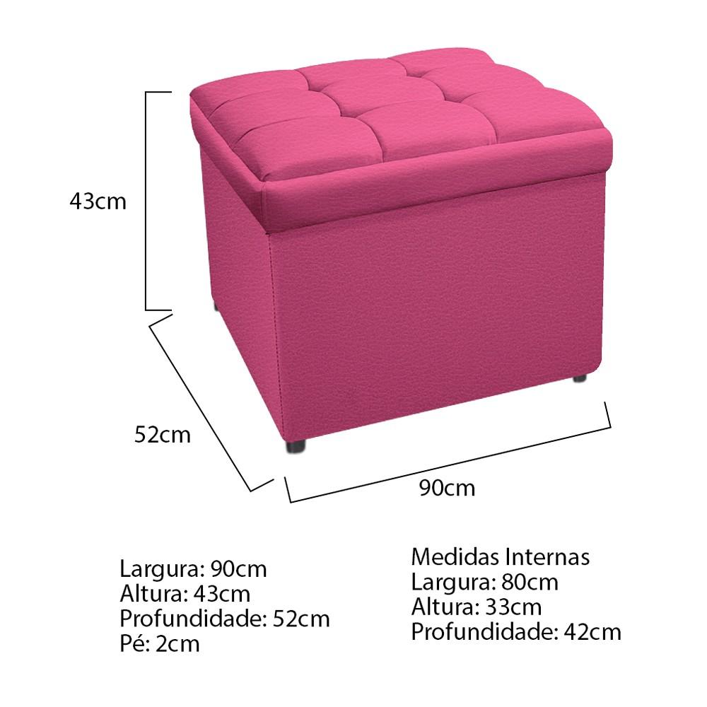 Kit Cabeceira e Calçadeira Copenhague 90 cm Solteiro Corano Pink - ADJ Decor